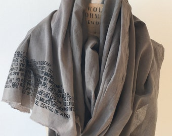 018 gray cotton text scarf