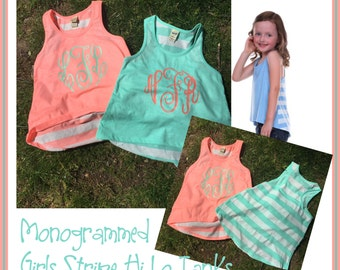 Monogrammed Girls Stripe Hi Lo Racerback Tanks - Perfect for Summer
