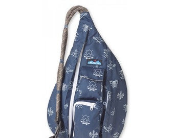 Monogrammed Kavu Rope Bags - Navy Camper - Great gift for College, Teens, Women, Outdoors Satchel Crossbody Tote