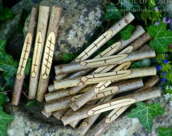 Hazel ogham staves - Wiccan ogham set, Wicca ogham sticks, natural wood ogham runes, Stonehenge ogham pieces, carved wood Pagan ogham