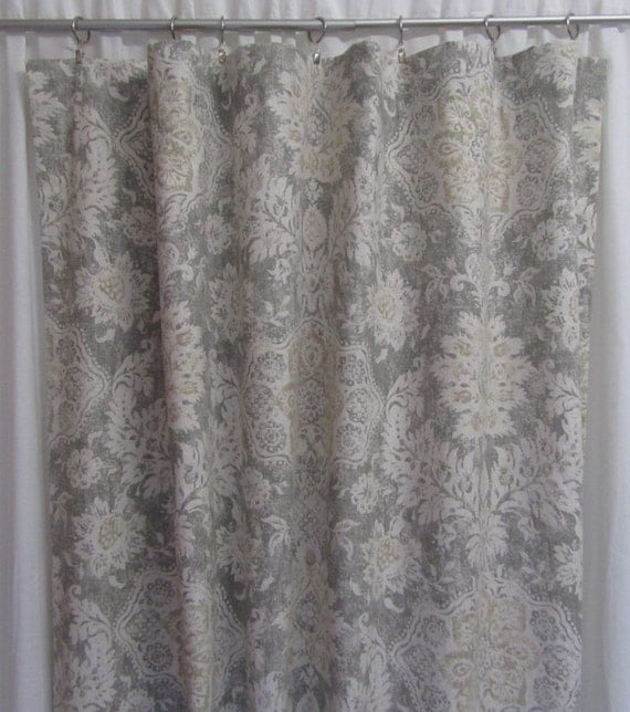 "Neutral Window Curtains, Modern Grey Curtains, Damask Curtain Panels, Ikat Drapes, Rod-Pocket Curtains, One Pair 50""W"