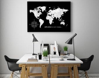 World Map, Push Pin Travel Map, World Travels Map, Office Decor, Home Decor, Travel Map, Map Art / Canvas or ArtPrint / H-I13-1PS AA5 06P