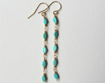 Gold Filled Wire Wrapped Long Turquoise Earrings - Handmade in Seattle