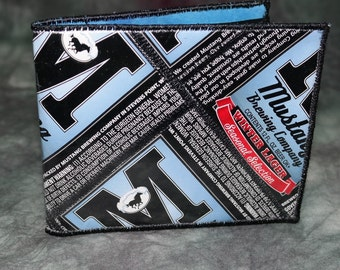 Bi-Fold Wallet from Recycled Mustang Brewing Winter Lager Beer Labels