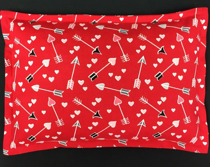 Valentines Day Corn Bags, Microwavable Heating Pad, Heat Packs, Spa Relaxation Gift, Hot Cold Therapy - Hearts and Arrows Red