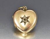 Diamond Star Gold Heart Locket Charm, Antique Victorian Locket Fob Charm Pendant, Love Token Heart Charm, Heirloom Sentimental Jewelry