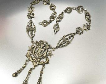 Antique Victorian Necklace, Peruzzi Silver Necklace, Italian Jewelry, Cherub Necklace, 1800s Antique Jewelry, Gothic Jewelry, Cini Coppini