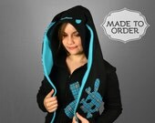 Punk Bunny Black Fleece Costume Hoodie - Made to Order