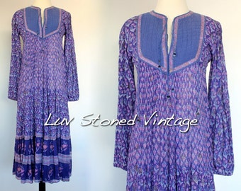 Vintage 70s Her Excellency Indian Cotton Boho Hippie India Gypsy Festival Tent Midi Maxi Dress D012 | XS - S | 1177.5.18.16