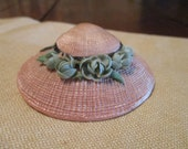 1940's Pin or Brooch Made from Sea Shells, Soft Pink, Velvet Ribbon, Green Floral Acents, Cute as a Minute, Avant-Garde, FREE SHIPPING