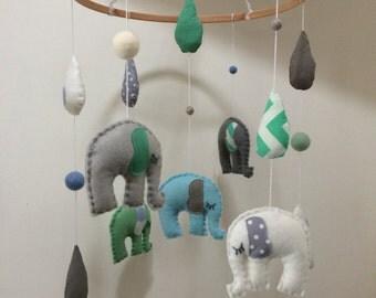 Turquoise & Grey Felt Elephant Baby Crib Mobile