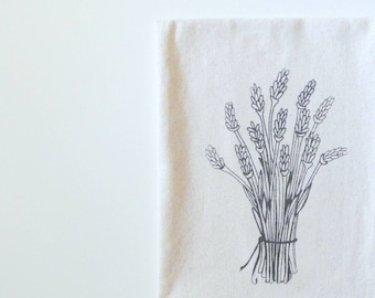 Cotton Kitchen Towel - Lavender Flower Bouquet - Choose your ink color