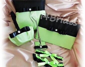 Neon Green and Black wedding ring pillow, basket, bridal leg garters, guest book and pen set.