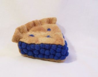Needle Felted Food - Piece of Blueberry Pie Slice