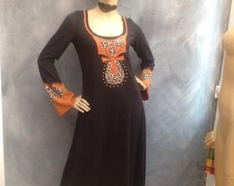 Satta Massagana Kemetic dress long dress tribal boho beaded black dress rasta stage wear size M/L