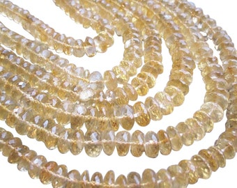 AAA Citrine Rondelles, Citrine Beads, 8-9mm, Yellow Gemstone, November Birthstone, SKU 2162A