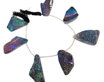 Druzy Beads, Drusy, Titanium Druzy Beads Briolettes, Titanium Drusy, Druzy Quartz Beads,SKU 4487A