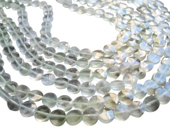 Prehnite Beads, Faceted Coin, 5mm coin, Loveofjewelry, Weddings, Brides, Bridal, Wholesale Beads, SKU 1123