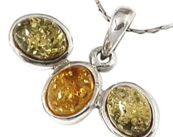 Amber Pendant, Sterling Silver Amber Pendant, Baltic Amber, Green and Yellow Amber, SKU 4834