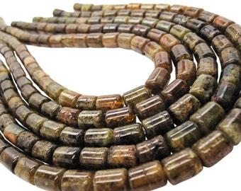 Vesuvianite  Beads, Cylinder Shape, Olive Green Vesuvianite, Vessonite, SKU 5125A