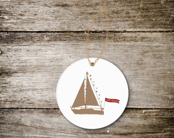 Sailboat Christmas Ornament, Boat Ornament, Beach House, Lake House, Christmas, Boats, Gift Boat Lover, Boater, Boating Gift, Sailing