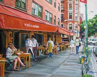 "West Village New York Art NYC Greenwich Village Morandi Outdoor Cafe Fine Art Print 8x10, ""Vini e Cucini""  Cityscape Painting Gwen Meyerson"