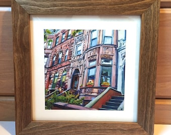 Brooklyn Brownstone Art Print. Park Slope. Framed Rustic Square Print Barnwood frame.  Ready to Hang Brooklyn NYC Print, by Gwen Meyerson