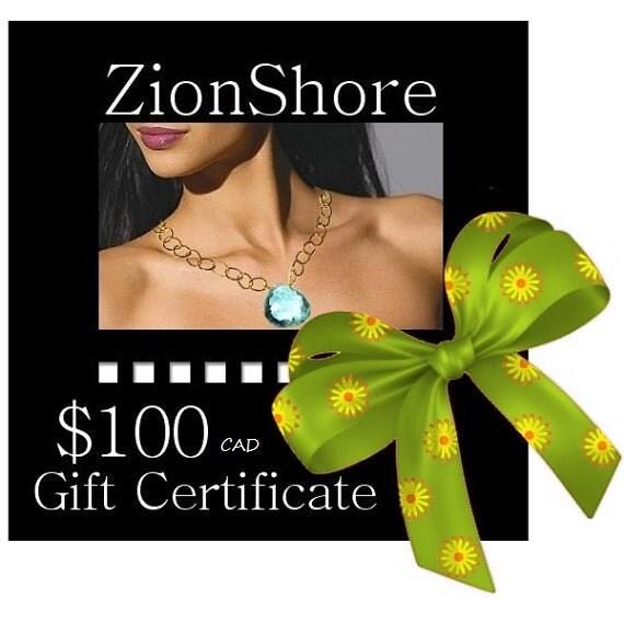ZionShore Handmade Jewelry Gift Certificate 100 Dollars