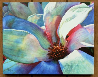 Tulip Magnolia Canvas Art Watercolor Painting Print by Cathy Hillegas, 16x20, Watercolor Print, Canvas print, Magnolia watercolor, blue art