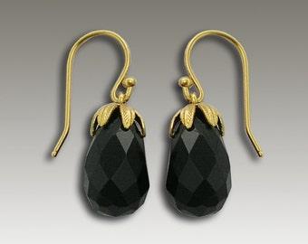 Gold Onyx earrings , Boho chic earrings, drop onyx earrings, bohemian earrings, gold earrings, elegant earrings, nature - Black Swan EG2068