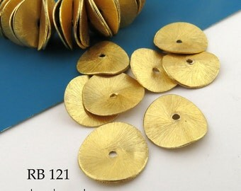 16mm Gold Tone Large Potato Chip Beads, Wavy Disk, Brushed Gold (RB 121) 8 pcs BlueEchoBeads
