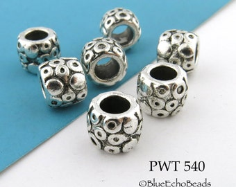 Large Hole Barrel Tube Pewter Beads with Circles Antique Silver 9mm (PWT 540) 8 pcs BlueEchoBeads