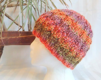 Cable Beanie. Hand Knit Hat. Beanies for Women. Gifts for Her. California Poppies. Orange. Green. Brown. Pink. Knit Hat. Naturally striping.