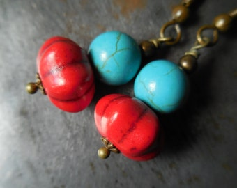 Red and turquoise earrings, bohemian earrings, Southwest style, colorful rustic boho chic earrings, blue turquoise earrings, red earrings
