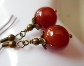 Red carnelian earrings, genuine carnelian earrings, natural gem stone earrings, handmade carnelian and brass earrings, bronze jewelry, red