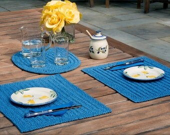 Mendip Placemats - Knitting Pattern - Knitted placemats for summer dining - Reversible - Instant download