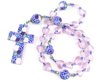 Dramatic Pink Glass Puffed Hearts Anglican Prayer Beads Rosary Polymer Clay Cross Canework Protestant Christian Gift for Her Religion