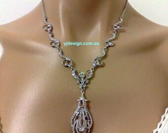 Statement Bridal Necklace, Cz Teardrop Wedding Jewelry, Swarovski Crystal Wedding Necklace, Bridal Jewelry, Gift for Her, OSCAR