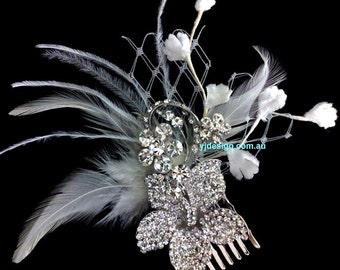 Swarovski Crystal Bridal Hair Comb, Feather Wedding Headpiece, Feather Fascinator, Silver Flower Fascinator, Bridal Hair Jewelry, GARDENIAS