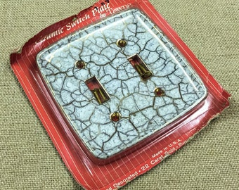 Vintage Double Light Switch Cover Towne Switch Plate Handpainted 22 Carat Gold Ceramic USA NIP