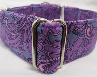 Tula Pink Purple, Aqua/Green or Blue Paisley Greyhound, Whippet, Galgo, Pit Bull, Dog, Sighthound, Martingale Collar