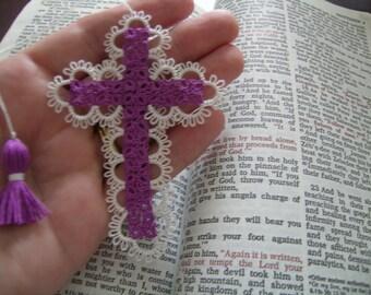 Tatted Lace Cross Bible Bookmark Purple Beautiful Heirloom Quality Keepsake