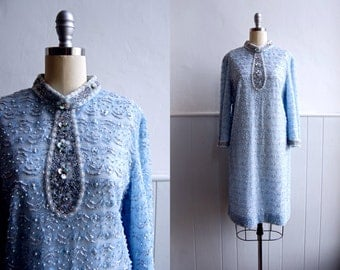1960s Pale Ice Blue Lace Beaded and Sequin Shift Dress // M L