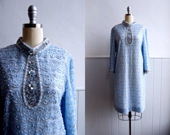 RESERVED - 1960s Pale Ice Blue Lace Beaded and Sequin Shift Dress // M L