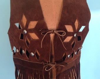 Vintage 70s Fringe Vest Suede Leather Cutouts Festival Silver Studs S M