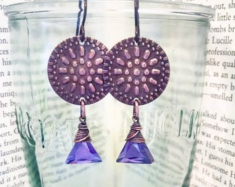 Grecian Copper Shields with Wire Wrapped Cubic Zirconia Triangles