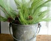 Industrial heavy duty galvanized zinc bucket flower vase display 1930's US Metal great Patina