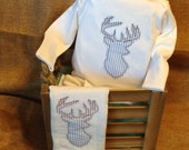 Handmade Baby gown with deer head applique and matching burpie-applique-deer-deer head-burpcloth