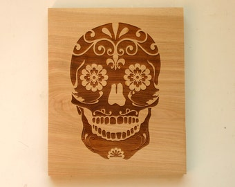 Sugar Skull Engraved Birch Sign Day of the Dead Wood Sign Laser Engraved