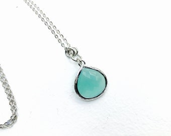 Teal Green - Tear Drop - Crystal Glass Silver Long Necklace